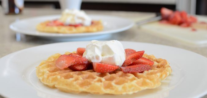 waffles topped with Strawberries