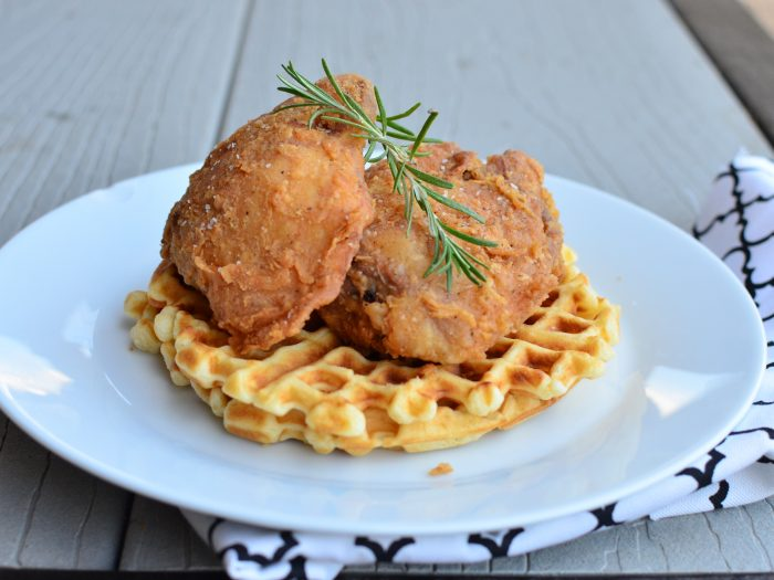 Fried chicken over waffles
